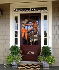 fall decor door.  number on door is cute.