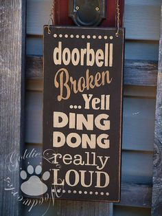 Ding Dong Chalkboard Art TypographyWord Art by GoldieLooWoodworks, $12.00