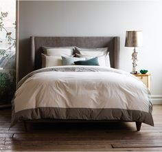 Modern Border Smoke Duvet Set - the newest addition to our Modern Border Bedding Collection