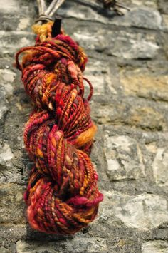 Handspun art yarn 'De La Rouge' Hand dyed wool by Innerspiral, £52.00