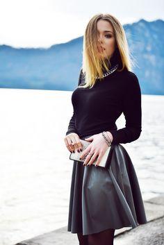 KAYTURE on Flickr - Grey skater skirt, black turtleneck and chain jewellery.