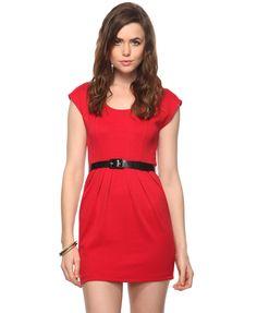 Double Knit Dress w/ Belt | FOREVER21 - 2000012112