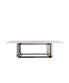 Table with smoked glass top. Fendi has teamed up with design firm Dimore Studio, and founders Britt Moran and Emiliano Salci, to create furniture pieces, light fixtures and even a rug that will be exclusively distributed through Fendi's fashion boutiques.
