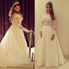 A-line Wedding Dresses Scoop Long Sleeve Button Sweep