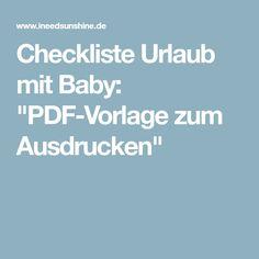 """Checkliste Urlaub mit Baby: """"PDF-Vorlage zum Ausdrucken"""""""