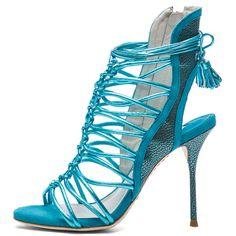 Sophia Webster Lacey Grain Metallic Leather Tie Up Heels in Turquoise (€220) ❤ liked on Polyvore featuring shoes, pumps, heels, turquoise metallic, leather peep toe pumps, high heel pumps, high heel court shoes, leather pumps and metallic pumps