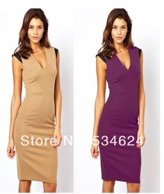 Wholesale New Fashion Elegant Celeb V-neck Sleeveless Knee-length Bodycon Pencil Party Evening Women Dresses $18.99