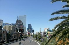 Looking down the Las Vegas strip from the foot bridge between MGM Grand and New York, New York