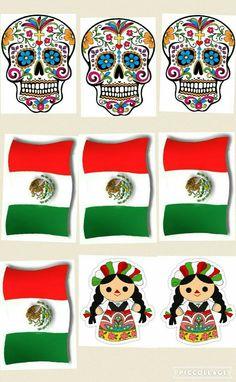 b1a8f342ec6b3 Recortables para fiesta mexicana bandera calaveras Día de Muertos 5 de Mayo  16 de septiembre