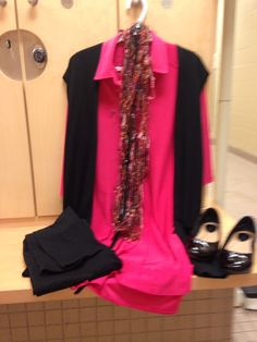 2016-02-10. Pink knit tunic. Black leggings. Black and pink fiber scarf. Black patent shoes.  I did NOT wear the black vest.