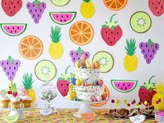 Ariella's Tutti Frutti 5th Birthday! - Project Nursery Cake Table by Emily Entertains https://www.etsy.com/shop/EmilyEntertains Kawaii Fondant Cake Toppers by Les Pop Sweets, Fruit Background by Lula Flora