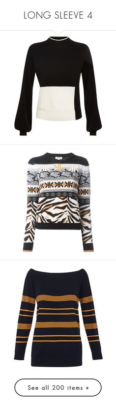 """""""LONG SLEEVE 4"""" by noconfessions ❤ liked on Polyvore featuring tops, sweaters, evening tops, color block tops, long sleeve sweater, patterned sweater, woolen sweater, black, long sleeve tops and colorful sweaters"""