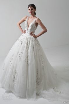 jillian 2017 bridal sleeveless strap deep v neck plunging heavily embellished bodice romantic ball gown a  line wedding dress low open back chapel train (megan) mv