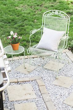 This paver patio is a cost-effective way to expand your outdoor living space and improve drainage in your backyard. It looks terrific, too! See how Caitlin Kruse of Style Within Reach styled it... on The Home Depot Blog. || @stylewthinreach