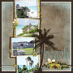 4 photo 1 page scrapbook layout Welcome to Paradise Kit I used this kit for my Hawaii scrapbook. It really turned out great! Beach Scrapbook Layouts, Travel Scrapbook Pages, Vacation Scrapbook, Wedding Scrapbook, Scrapbook Sketches, Scrapbook Paper Crafts, Scrapbook Cards, Scrapbook Photos, Digital Scrapbooking Layouts