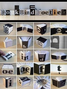 Bookbinding models by Marenne Laurine Hoeksema that also spell out the name of her shop. Brilliant.