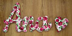 handmade names, decorative wall project for nursery, gif for wedding photoshooting, entirely handsewn