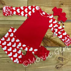 Girls Valentine Outfit, Red Hearts, Monogram, Ruffled Boutique Pants, Girl Clothes, Toddler Girl, Infant, Personalize, Clothing, Blank by MoxieGirlBoutique on Etsy