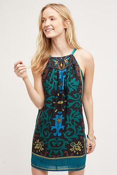 Del Mar Halter Dress - anthropologie.com: I don't really like the neckline of this dress, but I absolutely love the color and pattern.