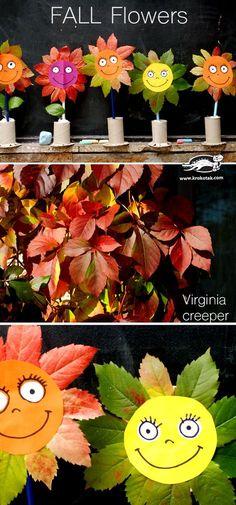 Herbstblumen aus Blättern und Klopapier-Rolle