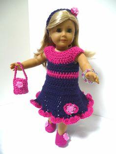 "4 American Girl 18"" Doll Clothes Set Crocheted Party Dress Ensemble | eBay"