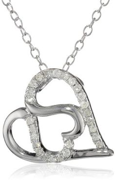 "Sterling Silver Diamond Double Heart Pendant Necklace (1/6 cttw, H-I Color, I2 Clarity), 18"" Amazon Curated Collection,http://www.amazon.com/dp/B005OHL4HC/ref=cm_sw_r_pi_dp_-91Usb123G4K107X"