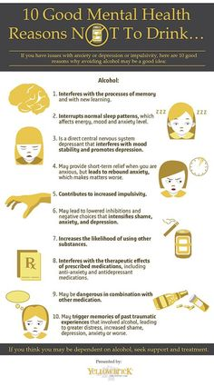 If you have issues with anxiety, depression, or impulsivity here are ten good reasons why avoiding alcohol may be a good idea.