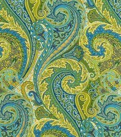 Upholstery Fabric-Williamsburg Jaipur Paisley Peacock