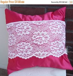 Clearance Pink Satin Pillow Cover  Upcycled with by debupcycles