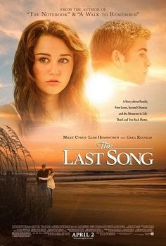 The Last Song (2010). A drama centered on a rebellious girl who is sent to a Southern beach town for the summer to stay with her father. Through their mutual love of music, the estranged duo learn to reconnect. #cancer #film #movie