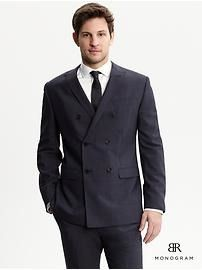 BR Monogram navy Italian wool double-breasted suit jacket