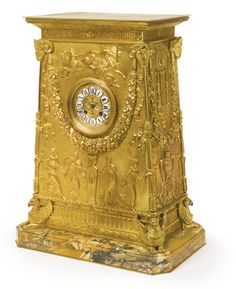 An Empire style gilt-bronze mantle clock<br>Paris, late century, after the model designed by Percier et Fontaine Wall Clock Wooden, Classic Clocks, Retro Clock, Wall Clock Online, Mantel Clocks, Wall Clock Design, French Empire, Bronze, Antique Clocks