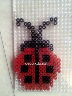 Ladybug hama perler beads by deco. Fuse Bead Patterns, Perler Patterns, Beading Patterns, Fuse Beads, Pearler Beads, Perler Coasters, Pony Bead Crafts, Motifs Perler, Melting Beads