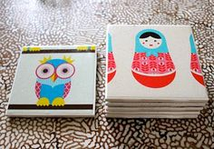 tutorial for cute coasters made from tiles and modge podge- could be a good project for a school fundraiser?