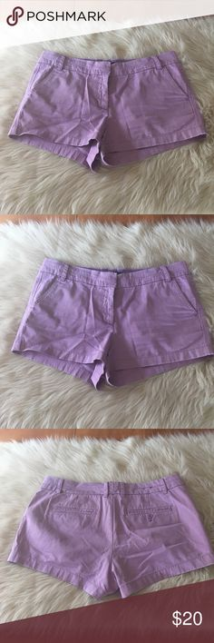 J crew chino shorts Purple j crew chino shorts. Worn maybe 2 times. In excellent condition!! No color fading, holes, rips or stains. Super cute! Still being sold at j crew! J. Crew Shorts