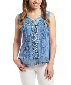 Look what I found on #zulily! Blue Lace-Up Silk-Blend Sleeveless Top #zulilyfinds