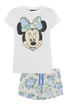 Primark - White Minnie Mouse Floral PJ Short Set