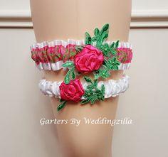 Flower Wedding Garter Set Damask Wedding Garter by Weddingzilla