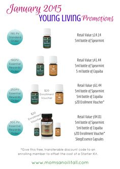 January 2015 Young Living Promotions. Earn FREE products at www.momsanoilitall.com!