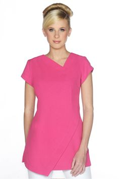 SPA14-HOT-PINK-TOP_l Spring Spa, Hot Pink Tops, Work Uniforms, Side Split, Electric Blue, Scrubs, Cap Sleeves, Hemline, Geometric Poster