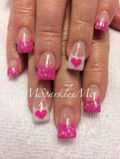 Clear with Pink Sparkle Tips and White Tips with Pink Hearts