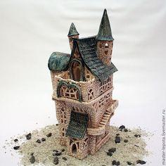 """Купить Подсвечник - Замок """"Бьёрнир"""" - тёмно-зелёный, замок, средневековье, сказка, домик, подсвечник, Керамика"""