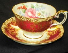 CROWN STAFFORDSHIRE ENGLAND BOUQUET RUBY RED SIGNED TEA CUP AND SAUCER