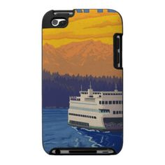 Ferry and Mountains - Seattle, Washington iPod Touch Cover