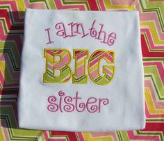 I am the BIG Sister appliqued shirt. www.beckysbowboutique.com Little Diva, Boutique Hair Bows, Applique, Sisters, Reusable Tote Bags, Big, Shirts, Dress Shirts, Shirt