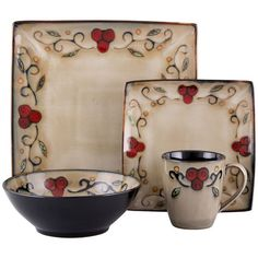 Sango Jubilee 16-pc. Square Dinnerware Set (Black) ($120) ?  sc 1 st  Pinterest & Sango Brown Centrics Sienna 16-Pc. Dinnerware Set (10.200 RUB ...