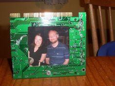 Porta Retrato com placa de circuito #diy #reciclar #reaproveitar
