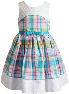 Loving this Pink & Blue Plaid Eyelet-Accent A-Line Dress - Toddler & Girls on Baby Girl Frocks, Frocks For Girls, Toddler Girl Dresses, Little Girl Dresses, Girls Dresses, Toddler Girls, Girls 4, Girls Frock Design, Kids Frocks Design