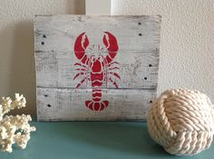 Handmade Lobster Wall Hanging, Distressed Wood on Etsy, $25.00