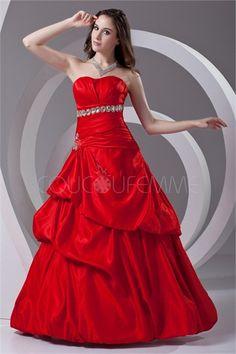 Quinceanera Dresses/Ball Gown Dresses Ball Gown Strapless Sleeveless Empire Zipper Floor-Length Taffeta Ruching/Pick Up Skirt/Beading Cheap Red Prom Dresses, Red Formal Dresses, Cheap Quinceanera Dresses, Prom Dresses 2016, Formal Evening Dresses, Strapless Dress Formal, Party Dresses, Red Ball Gowns, Ball Gown Dresses